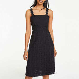 Ann Taylor Lace Strap Eyelet Flare Dresses - 8